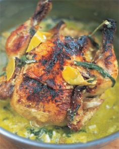 Jamie Oliver's Chicken in Milk... this is a really fantastic recipe.  You're not going to believe how good it is.