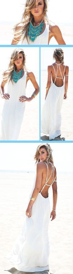 White Spaghetti Strap Backless Maxi Dress