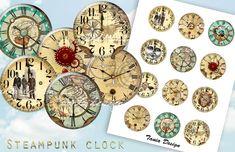 12 Steampunk Clocks 2 inch instant download от TaniaDesign на Etsy