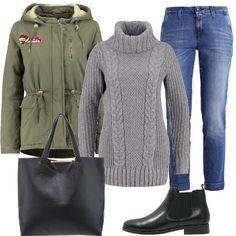 Per essere alla moda nonostante il freddo pungente: maglione stile irlandese con coste e trecce, jeans baggy alla caviglia, parka, shopper e chelsea boot bassi.