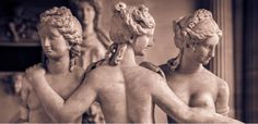 Hairstyles as depicted on an ancient sculpture of women in the Louvre, France.