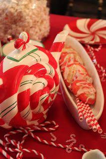 A Dept 56 Peppermint teapot and peppermint swirl pinwheels