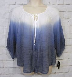 NEW Womens Plus BY & BY Sheer Blue White Dip Dye Gauzy BOHO ¾ Sleeve Top Size 2X #ByBy #Blouse #Casual
