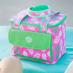 pineapple-of-my-eye-cooler-bag - lunch bag - cooler tote - beach - pool - school - office - BeauJax Boutique Pineapple Monogram, Pineapple Print, Personalized Lunch Bags, Monogrammed Beach Towels, Soft Sided Coolers, Wedding Gifts For Bridesmaids, Beach Fun, Beach Pool, Pink And Green