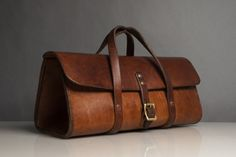 bag leather duffle handbag brown buckle straps classy with buckle