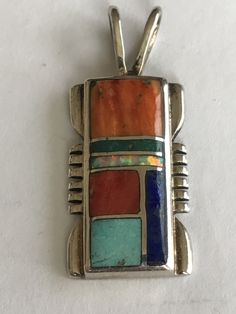 Zuni Sleeping Beauty Turquoise Opal Sterling Pendant Chris Tom $7t