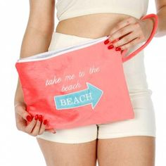 Knitting Factory Water Proof Wet Bikini Bag Selection (Take me to the beach Pink #KnittingFactory #Default