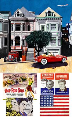 The painted ladies never looked so iconic! A Jan and Dean hot rod and jaguar sit outside. Through the window you can see further markers of good taste of the times. Jan And Dean, Painted Ladies, E Type, Through The Window, Woman Painting, Jaguar, Hot Rods, Markers, The Outsiders