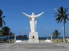 Statue of Jesus Christ at the northern point of  Colon