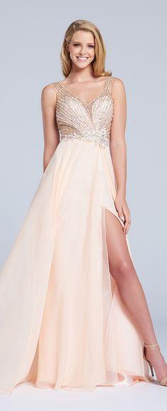 Sleeveless chiffon A-line gown with embellished deep V-neckline bodice, keyhole back, full skirt with side slit.
