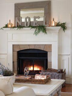 30 Amazing Fireplace Mantel Decor for Christmas Ideas - Christmas Fireplace Decor Christmas Fireplace Mantels, Fireplace Mantle, Fireplace Ideas, Simple Fireplace, Mantel Ideas, Halloween Fireplace, Fireplace Mirror, Simple Christmas, Christmas Home