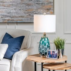 Isabel Teal Glass Table Lamp - Overstock - 32668204 Teal Table Lamps, Table Lamp Sets, Gold Couch, Ethnic Decor, Lamp Shade Store, Drum Shade, Glass Table, White Fabrics, Colorful Decor