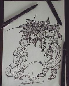 Desenho finalizado GOKU VS FREEZAR