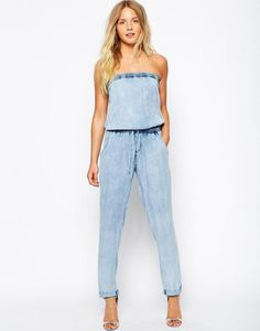9941707cc9ad Strapless Denim Jumpsuit Strapless Jumpsuit