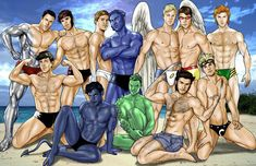 Colossus, Gambit, Northstar, Nightcrawler, Beast, Cyclops, Iceman, Anole, Wolverine, Archangel, Banshee, and Cannonball