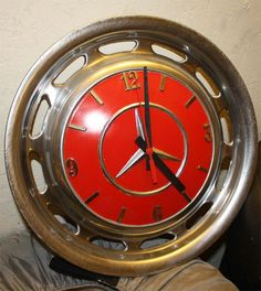 Clocks – Decor : Mercedes Hubcap Clock -Read More – Car Part Furniture, Automotive Furniture, Automotive Decor, Furniture Plans, Kids Furniture, Garage Furniture, Furniture Chairs, Automotive Industry, Bedroom Furniture