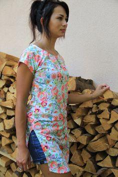 Návod jak ušít dámskou tuniku + střih ve velikostech 32 - 62 Short Kimono, Pdf Sewing Patterns, Tunic, T Shirts For Women, Easy, Sleeves, Fashion, Moda, Tunics