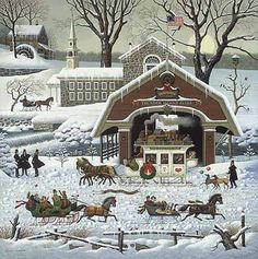 Charles Wysocki did 'Twas the Twilight Before Christmas for the 1987 Greenwich Workshop annual print. This rural snow scene with families greeting each other from their sleighs shows the joys of the season.