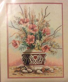 Desert Floral Needlepoint Kit Vtg Matthew Brian Southwest Clay Pot Sunset  New 9ce2d7ed3f