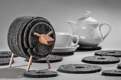 Design Gadget: Sheepad Vilt Onderzetter Set! - Geinige Tafelaccessoire Tegen Vlekken: Mooi Ontwerp, Functioneel en Eco Vriendelijk Materiaal. Geweldig Cadeau!