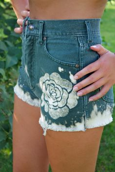 High Waisted Flower Jean Shorts by sjsteed on Etsy, $55.00