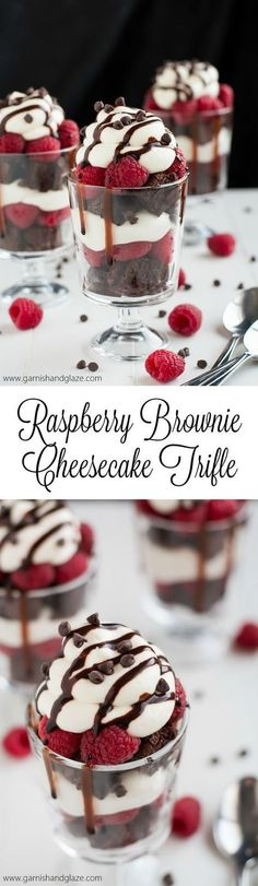 Nothing says love like these Raspberry Brownie Cheesecake Trifles made with rich chocolate from-scratch chocolate chip brownies, easy no-bake cheesecake filling, and fresh sweet raspberries. paleo dessert no eggs Trifle Desserts, Mini Desserts, Easy Desserts, Delicious Desserts, Dessert Recipes, Yummy Food, Plated Desserts, Baking Desserts, Easy Sweets