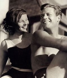 Katharine Hepburn and Joel McCrea catch some rays