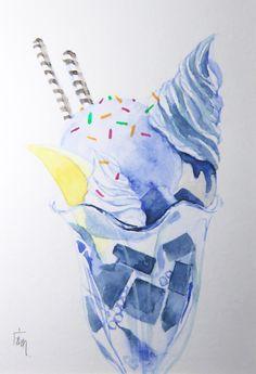 Parfait, Ice, balu, Aquarell, original, nicht gedruckt by ManamiTakamatsu on Etsy