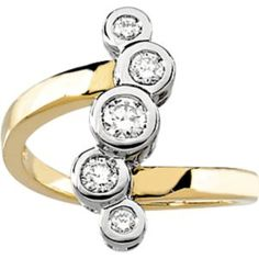 63260 / 14K Yellow/White / 1/4CTTW / Polished / TT RIGHT HAND DIAMOND RING