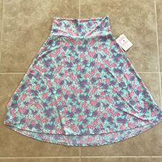 New LuLaRoe M Azure Skirt Light Teal Blue Pink Purple Flowers Floral Medium  | eBay