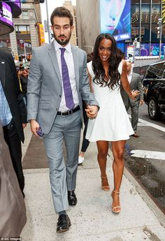 Head over heels! Rachel Lindsay and her new fiance Bryan Abasolo couldn't have looked anymore in love as they stepped out for one of the first times in public as a couple on Tuesday morning