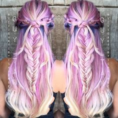 Did you see the 'Clouding' video @guy_tang posted on his channel? Color- Guy Tang, Braided Style- Moi :) #guytanghair #vivideducation #vividhair #clouding #pastelhair #pastel #braids #hairpics #haircolor #hairstylist