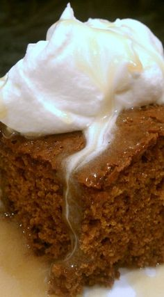 Warm Gingerbread Cake With Homemade Caramel Sauce...