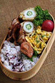 Twitter from @be_beejp 今日のお弁当は、オクラちくわの磯部揚げ弁当 #obentoart
