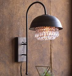 Metal Dome Wall Sconce Pendant Light with Hanging Gems – Farmhouse Fresh Home® Wall Lamp, Wall Lights, Rustic Lighting, Lamp, Hanging, Glass Gems, Glass, Lighting, Light Fixtures