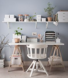 Bedroom desk student room ideas 44 ideas for 2019 Shelves Above Desk, Shelves In Bedroom, Bedroom Desk, White Desk Shelves, Bedroom Furniture, Shelf Desk, Gothic Furniture, Ikea Shelves, Bedroom Storage
