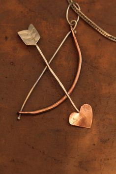 Pendant 925 Silver and Copper Cupids bow and by HammeredandFired