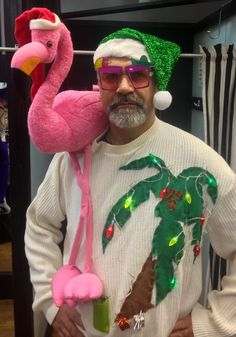 Pink Flamingo Tacky Christmas Sweater, Ugly Christmas Sweater Shop ...