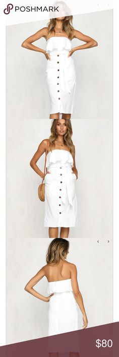 NWT Strapless Ruffle Dress The perfect summer dress! White linen strapless midi dress. The dress has a ruffle front with button detail. It also features a detachable tie waist and pockets. The dress is in Australian sizing. AU size 6 = US 2 Sweet Pot Dresses Midi