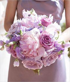light purple bouquet for bridesmaids? Sweet peas, roses, peonies, lysiantus, gorgeous!
