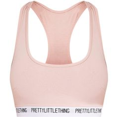 PrettyLittleThing Nude Sports Bra ❤ liked on Polyvore featuring activewear, sports bras, pink sports bra, sports bra, sport jerseys, pink jersey and sports jerseys
