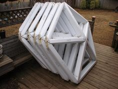 geo dome | Six pentagonal subunits of geodesic dome shelter shown stacked for ...