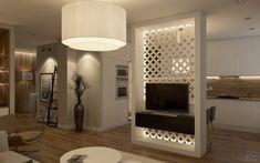 Интерьер кухни-гостиной, перегородка между кухней и гостиной, телевизор на перегородке