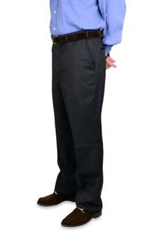 BERLE Charcoal Gabardine Wool Self Sizer Waistband Trousers