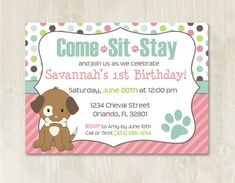 Puppy birthday, puppy themed party, puppy party, puppy invitation.   Hey, I found this really awesome Etsy listing at https://www.etsy.com/listing/239134859/puppy-birthday-invitation-customizable