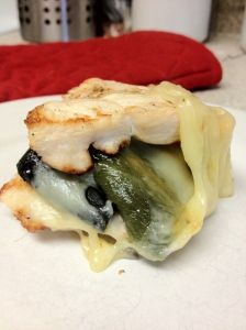 Weight Watchers Points + 7 points. Tasty grilled chicken with pepper jack and roasted poblano peppers.