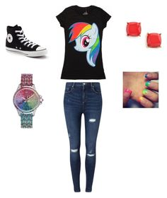 """Rainbow dash outfit"" by washingtonjd on Polyvore featuring interior, interiors, interior design, home, home decor, interior decorating, My Little Pony, Miss Selfridge, Converse and Juicy Couture"