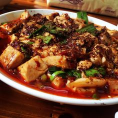 Family restaurant, Chendu: mapo tofu w lots of Sichuan peppercorn.