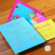 Calligraphy wedding invitation in gold foil, turquoise, hot pink and saffron yellow. The best part is the beautiful liner paper to pull the colors together! Margot Madison, Jenna Blazevich, Katarina Roccella