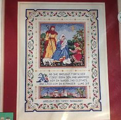 Renaissance Sampler Cross Stitch Christmas Nativity Scene Kit Dimensions Verse | eBay